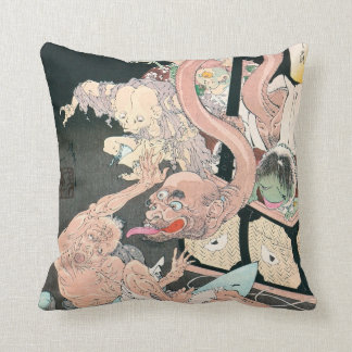 Japanese Ghosts and Demons Ancient Art Throw Pillow