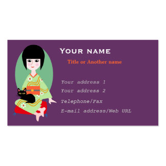 Japanese girl and cat business card