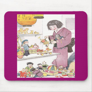Japanese Girl and Dolls Mouse Pad