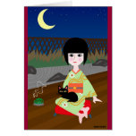 Japanese Girl And Kitty Card at Zazzle