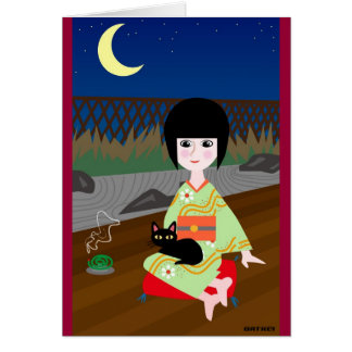 Japanese girl and kitty card