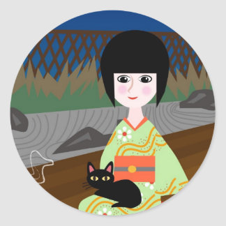 Japanese girl and kitty classic round sticker
