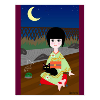 Japanese girl and kitty postcard