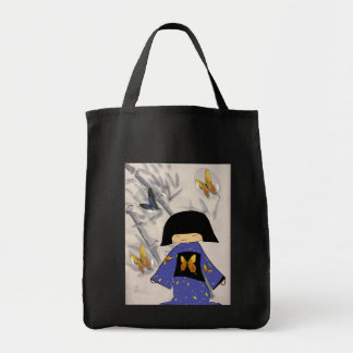 japanese girl butterfly grocery tote bag
