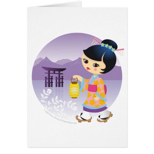 Japanese girl greeting cards