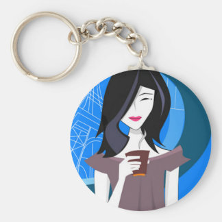 Japanese Girl, Coffee Basic Round Button Keychain