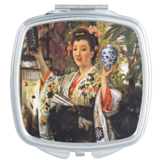 Japanese Girl Holding Objects Makeup Mirror