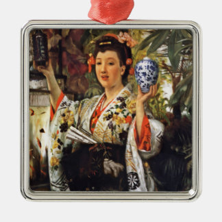 Japanese Girl Holding Objects Metal Ornament