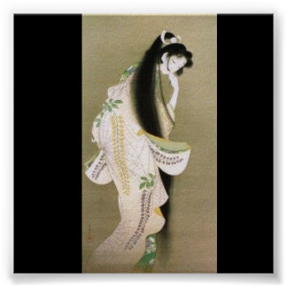 Japanese Girl Long Flowing Hair Poster
