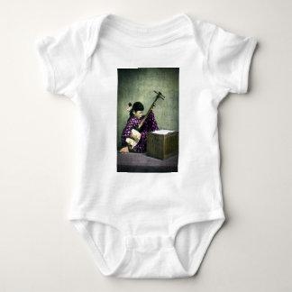 Japanese Girl Musician Shamisen Vintage Baby Bodysuit