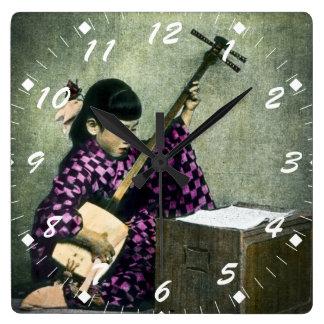 Japanese Girl Musician Shamisen Vintage Wallclock