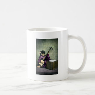 Japanese Girl Musician Shamisen Vintage Classic White Coffee Mug