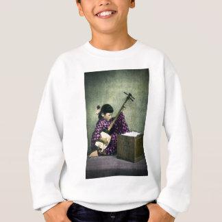 Japanese Girl Musician Shamisen Vintage Sweatshirt