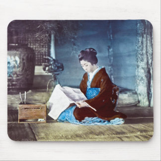 Japanese Girl Reading Newspaper Vintage Mouse Pad
