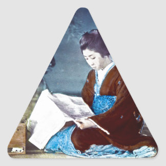 Japanese Girl Reading Newspaper Vintage Triangle Sticker