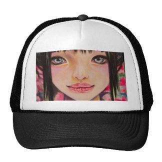 Japanese girl with blue eyes trucker hat
