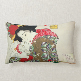 Japanese girl with Cat, Tsukioka Yoshitoshi Lumbar Pillow