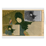 Japanese girl with umbrella in the rain greeting card