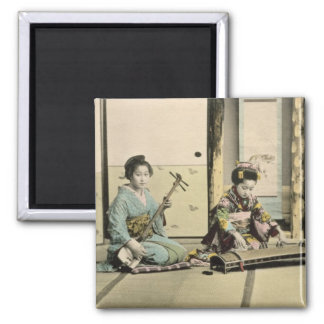 Japanese girls playing the flute, 'koto' and samis magnet