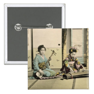 Japanese girls playing the flute, 'koto' and samis pinback button