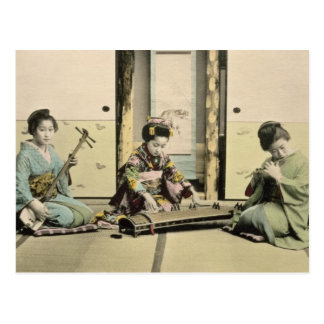 Japanese girls playing the flute, 'koto' and samis postcard