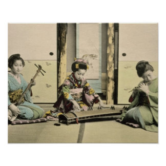 Japanese girls playing the flute koto and samis poster