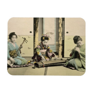 Japanese girls playing the flute, 'koto' and samis vinyl magnets