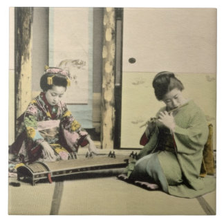 Japanese girls playing the flute, 'koto' and samis tile