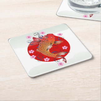 Japanese glossy flag square paper coaster