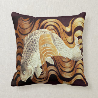 Japanese Golden Waves and Silver Carp Throw Pillow