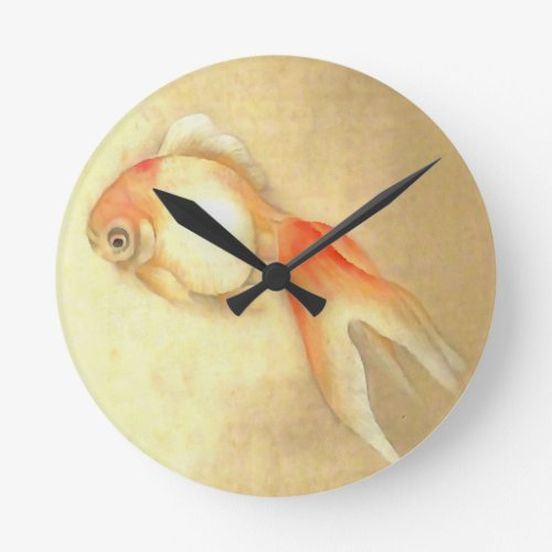 Japanese Goldfish Round Clock