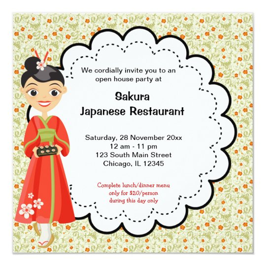 Restaurant Invitations Announcements – Japanese Birthday Invitations