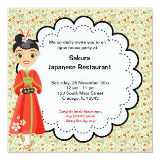 Japanese Grand Opening Restaurant 5.25x5.25 Square Paper Invitation Card