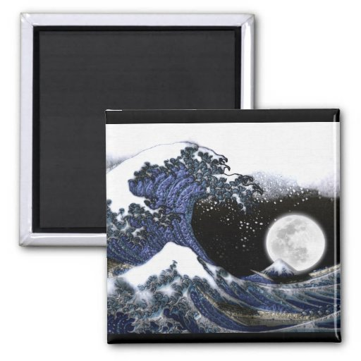 Japanese Great Wave & Full Moon Art Magnet