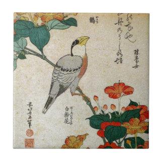 Japanese Grosbeak and Mirabilis Jalapa (Hokusai) Tiles
