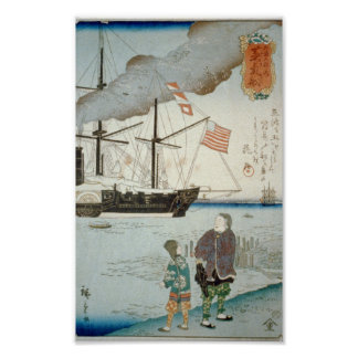 Japanese Harbor with American Steamship Poster