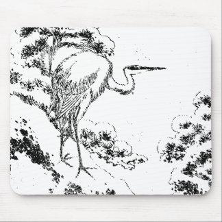 Japanese Heron Mouse Pad