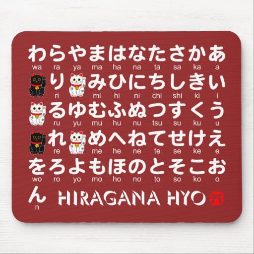 Japanese hiragana alphabet table mouse pad zazzle for Table a vi 6 2 of the stcw code