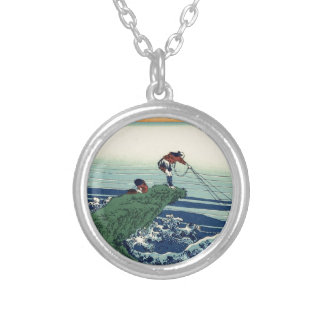 Japanese Hokusai Fuji View Landscape Silver Plated Necklace