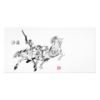 Japanese horse samurai art equestrian sumi card