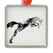 Japanese horse samurai art equestrian sumi metal ornament