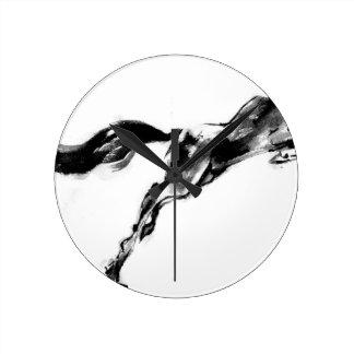Japanese horse samurai art equestrian sumi round clock