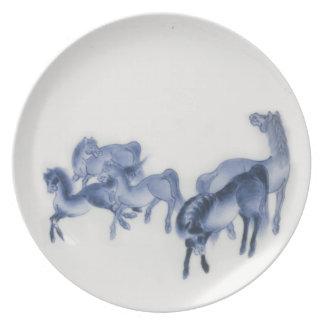 Japanese Horses Antique Reproduction Melamine Plate