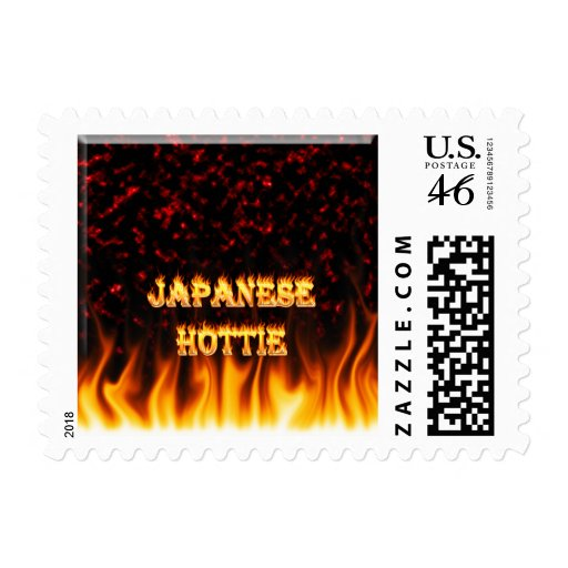 Japanese Hottie fire and flames red marble. Postage Stamp