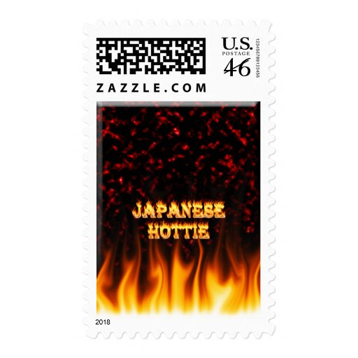 Japanese Hottie fire and flames red marble. Postage Stamps