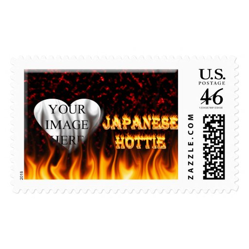 Japanese Hottie fire and flames red marble. Stamp
