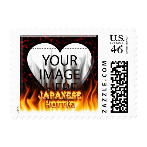 Japanese Hottie fire and flames red marble. Postage