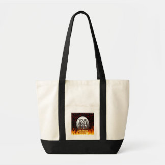 Japanese Hottie fire and flames red marble. Tote Bag