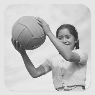 Japanese Internment Camp Volleyball WWII Square Sticker