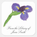 Japanese Iris Blossom Book Plate Square Sticker